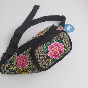 Embroidered fanny pack /cross body bag
